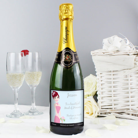 Personalised Fabulous Wedding Bridesmaid Champagne Gift