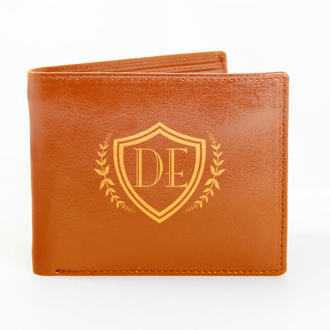 Personalised Brown Shield Wallet Present