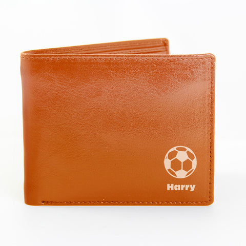 Personalised Brown Football Wallet Present