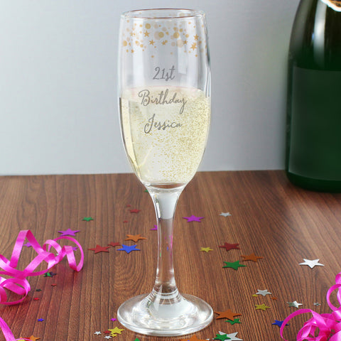 Personalised Gold Stars Champagne Flute