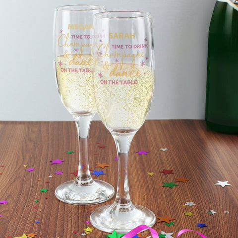Personalised Time to Drink Champagne Flute