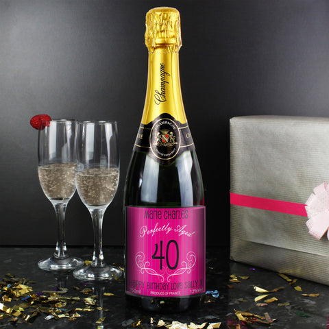 Personalised Champagne Pink Age Label
