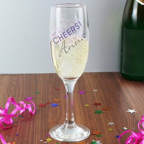 Personalised Cheers Champagne Flute
