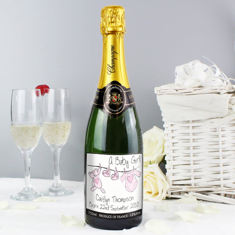 Personalised Pink Baby Wash Line Champagne Gift