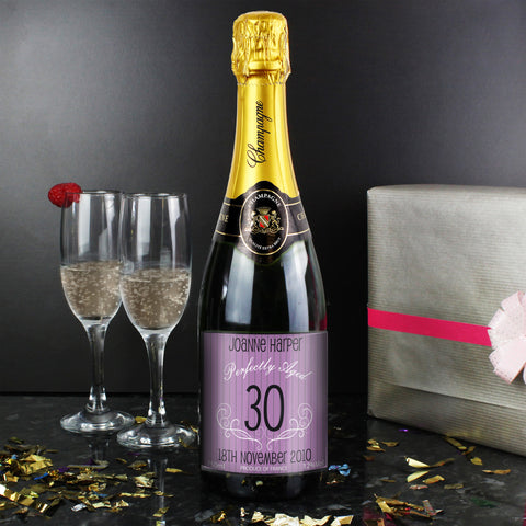 Personalised Champagne Purple Age Label