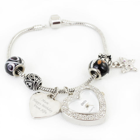 Personalised Black Watch Charm Bracelet