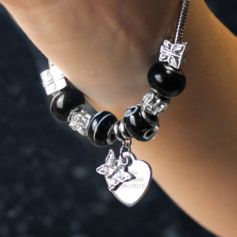Personalised Butterfly Charm Bracelet Gift Black