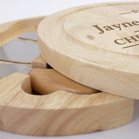 Personalised Large Cheese Board with Cheese Knives Gift