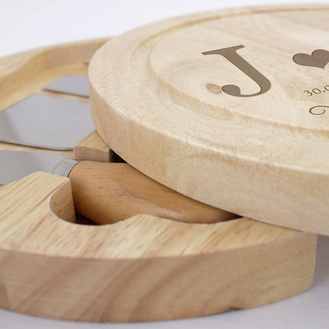 Personalised Monogram Cheese Board with Cheese Knives Set