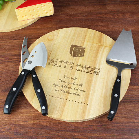 Personalised Cheese Board and Cheese Knives Set