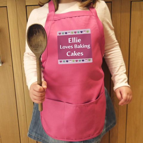 Personalised Children's Apron Pink Hearts