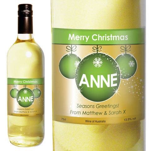 Personalised White Wine Bauble Label