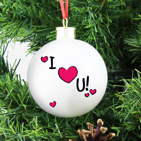 Personalised I Heart U Christmas Bauble