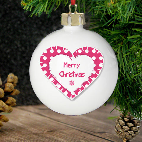 Personalised Christmas Heart Bauble Gift