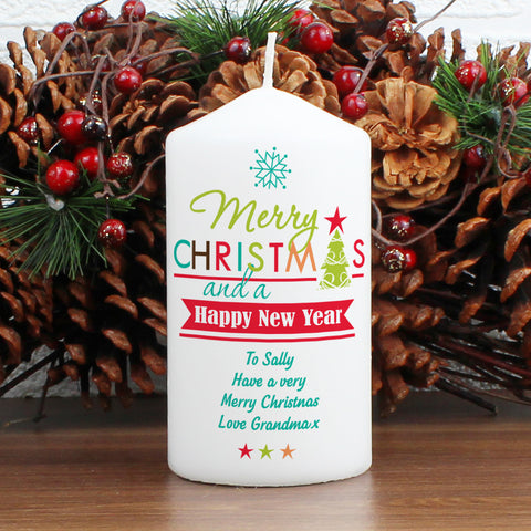 Personalised Bright Christmas Candle Present