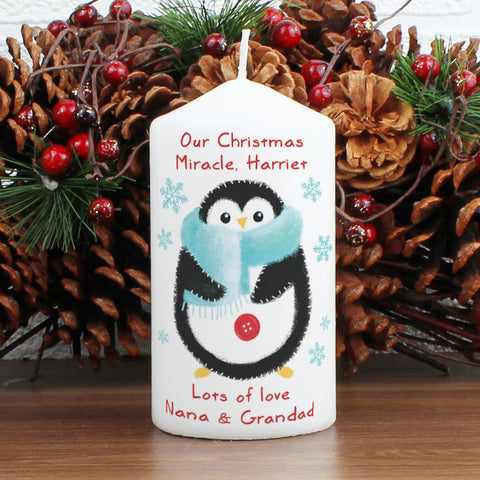 Personalised Felt Stitch Penguin Candle Present