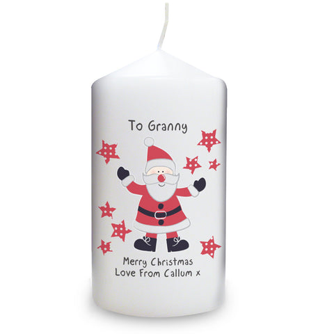 Personallised Spotty Santa Candle