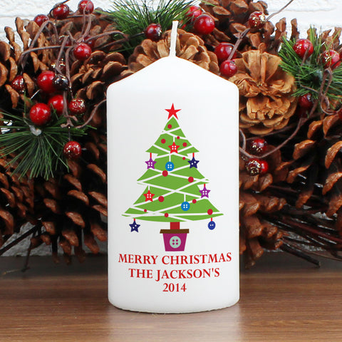 Personalised Merry Christmas Tree Candle Gift