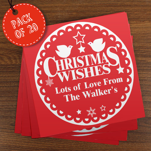 Personalised Christmas Wishes Cards 20 Pack