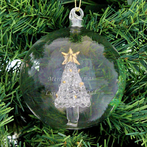 Personalised Glass Christmas Tree Bauble Gift