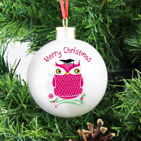 Personalised Christmas Owl Tree Decoration Gift