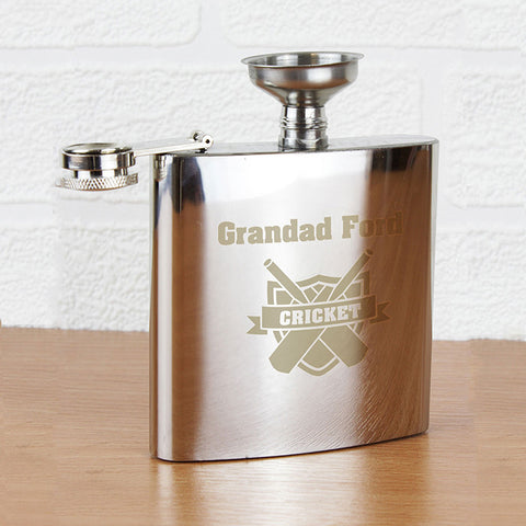 Personalised Cricket Hip Flask Gift