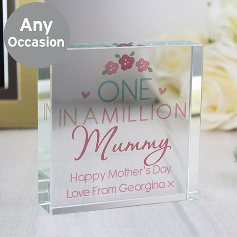 Personalised One In A Million Crystal Block