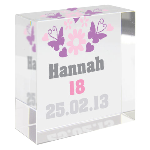 Personalised Butterfly and Flowers Medium Crystal Token Gift