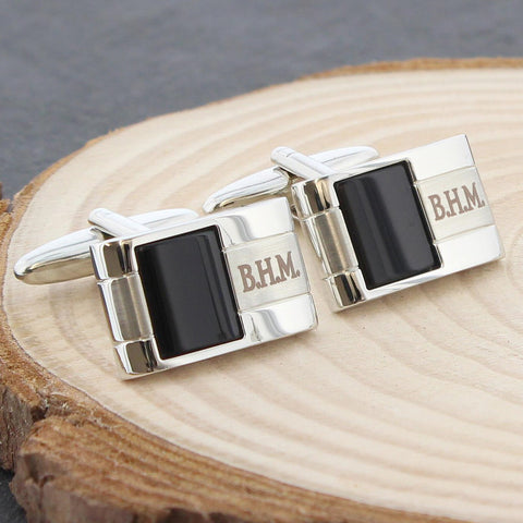 Personalised Onyx Cufflinks Present