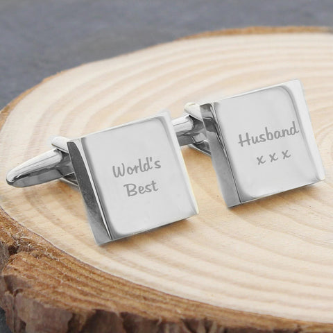 Personalised Square Cufflinks 2 Line Message