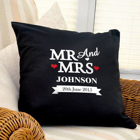 Personalised Cushion Cover Mr and Mrs Gift