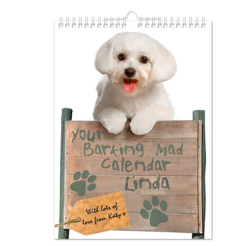 Personalised Your Barking Mad A4 Wall Calendar Present