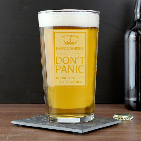 Personalised Don't Panic Pint Glass Present