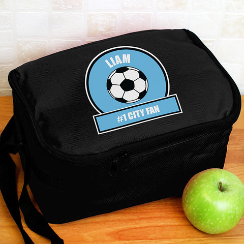 Personalised Football Fan Insulated Lunch Bag Light Blue