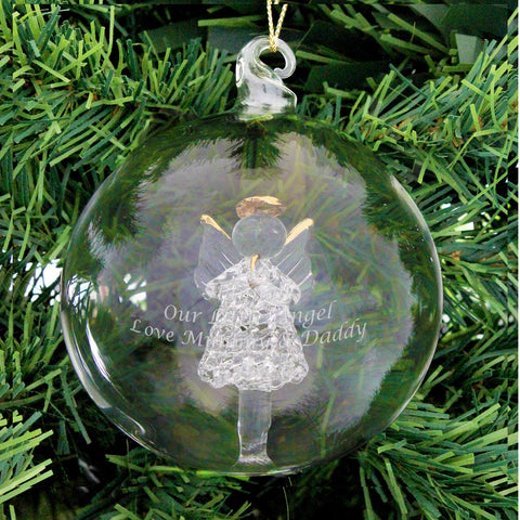 Personalised Glass Angel Christmas Bauble Gift
