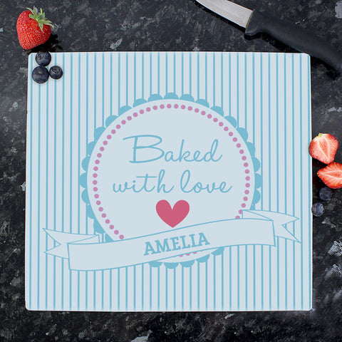 Personalised Baked with Love Glass Chopping Board