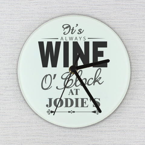 Personalised Wine O' Clock Glass Clock