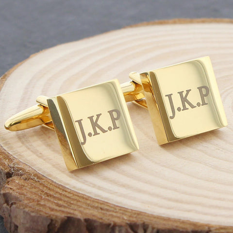 Personalised Gold Plated Square Cufflinks Gift
