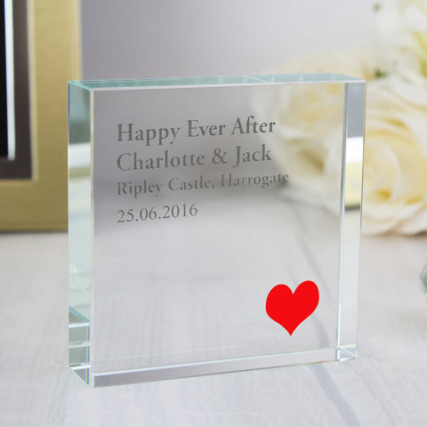 Personalised Red Heart Large Crystal Block Gift