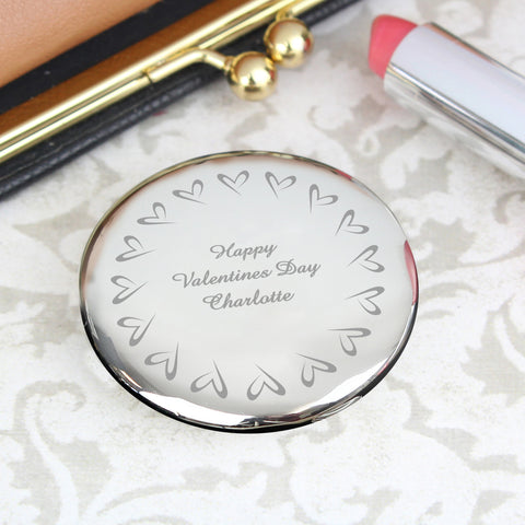 Personalised Small Hearts Compact Mirror Present