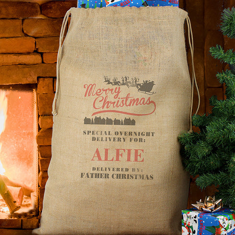 Personalised Hessian Merry Christmas Sack