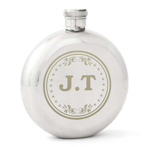 Personalised Monogram Round Hip Flask Gift