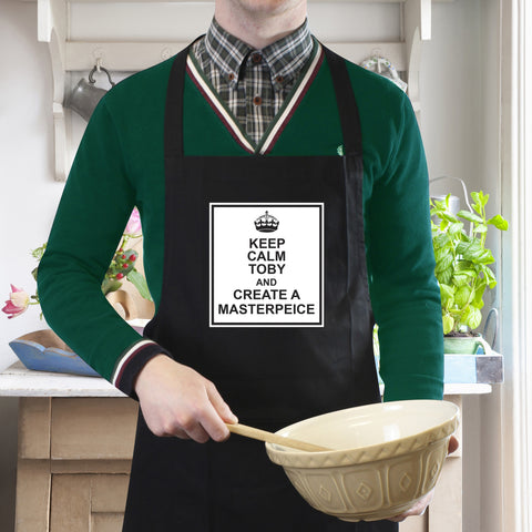 Personalised Black Keep Calm Apron