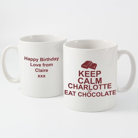 Personalised Keep Calm and Eat Chocolate Mug