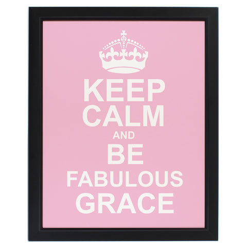 Personalised Keep Calm Framed Print Pink
