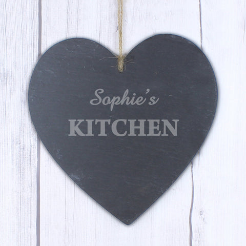 Personalised Large Kitchen Slate Heart Decoration Present