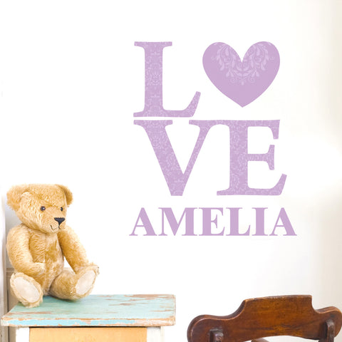 Personalised Lilac LOVE Wall Art Vinyl