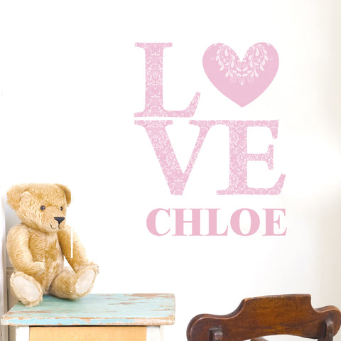 Personalised LOVE Pink Wall Art Present