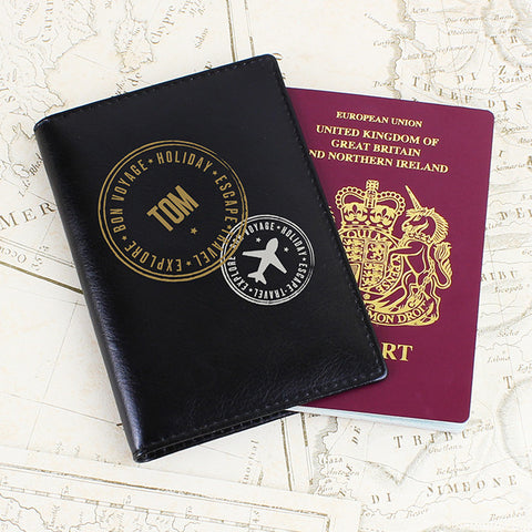 Personalised Passport Holder Black Stamped Gift