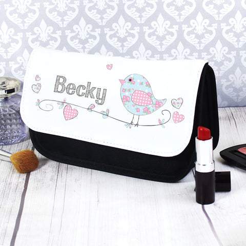 Personalised Floral Bird Makeup Bag